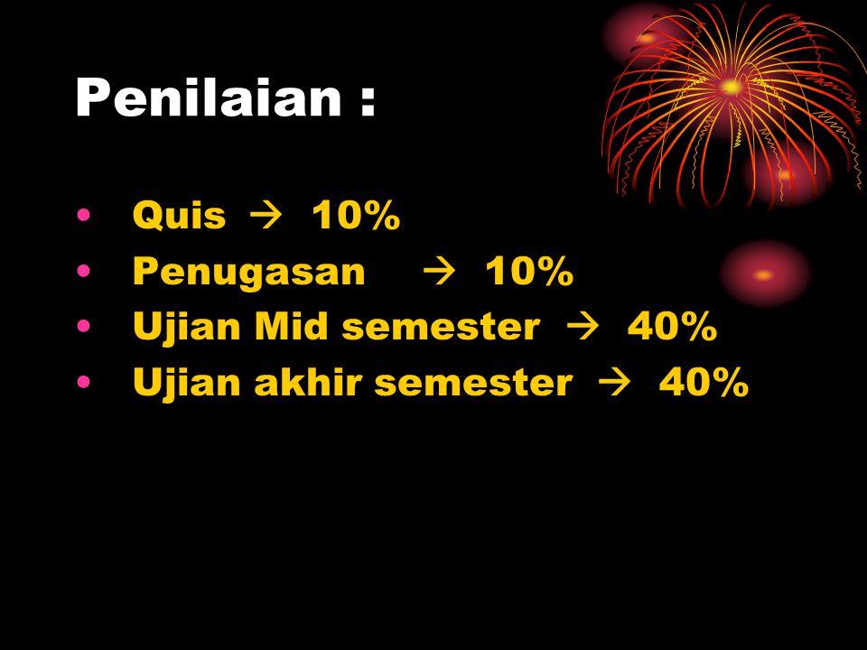 Penilaian : Quis  10% Penugasan  10% Ujian Mid semester  40%