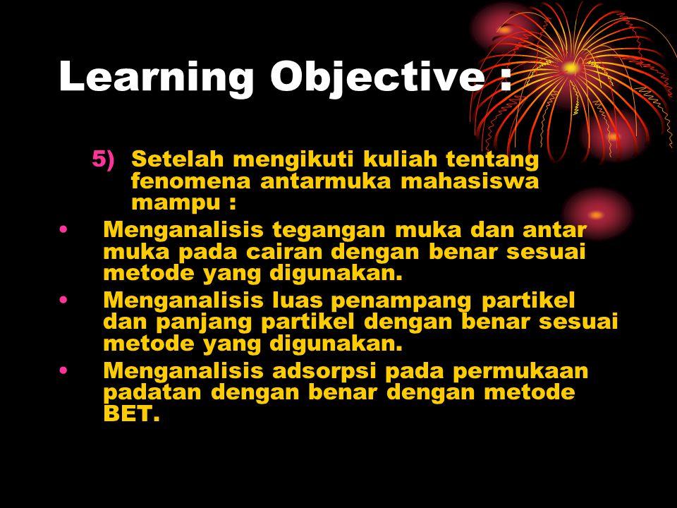 Learning Objective : Setelah mengikuti kuliah tentang fenomena antarmuka mahasiswa mampu :