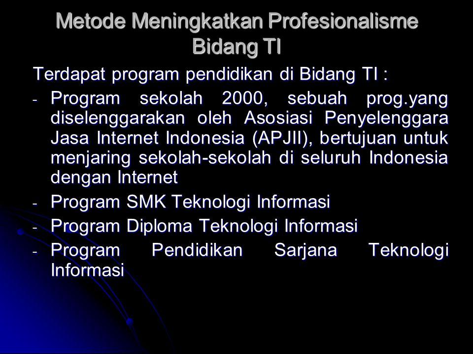 Metode Meningkatkan Profesionalisme Bidang TI