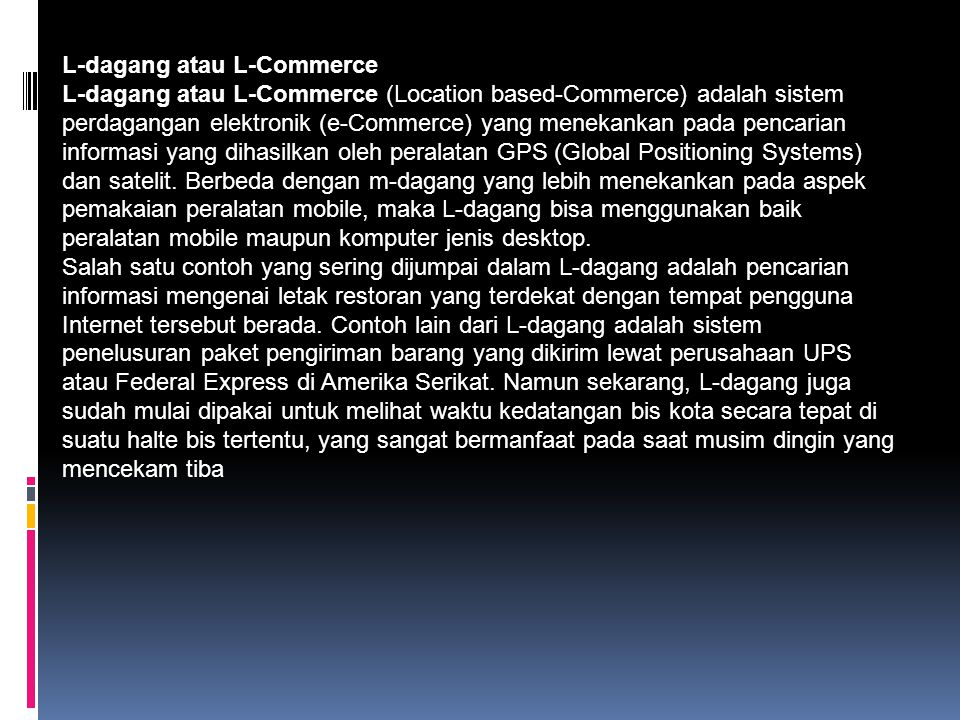L-dagang atau L-Commerce