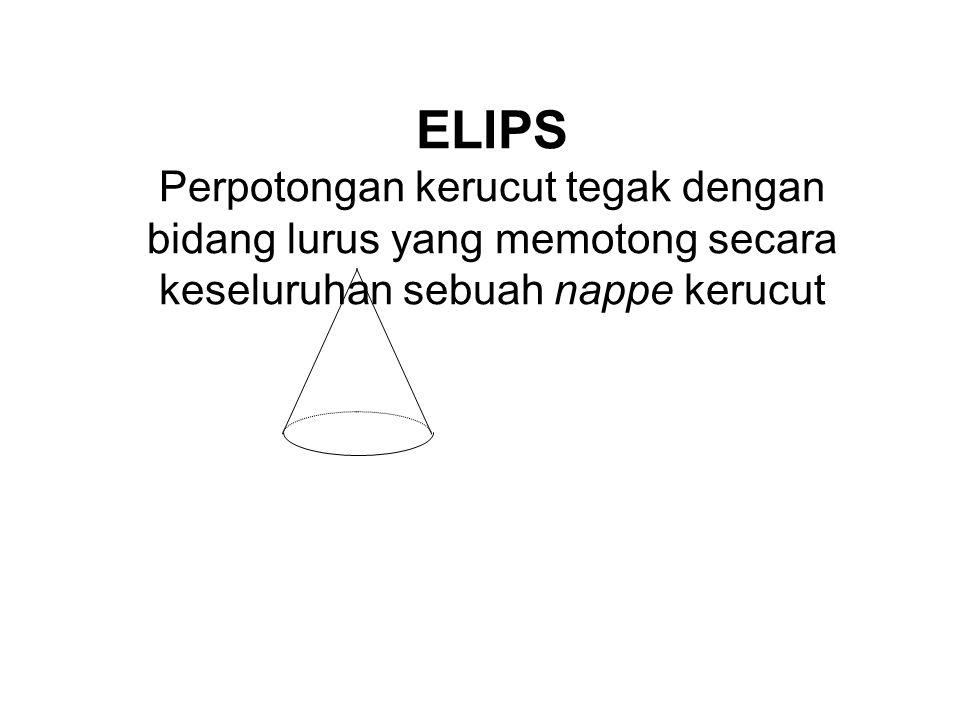 ELIPS Perpotongan kerucut tegak dengan bidang lurus yang memotong secara keseluruhan sebuah nappe kerucut.
