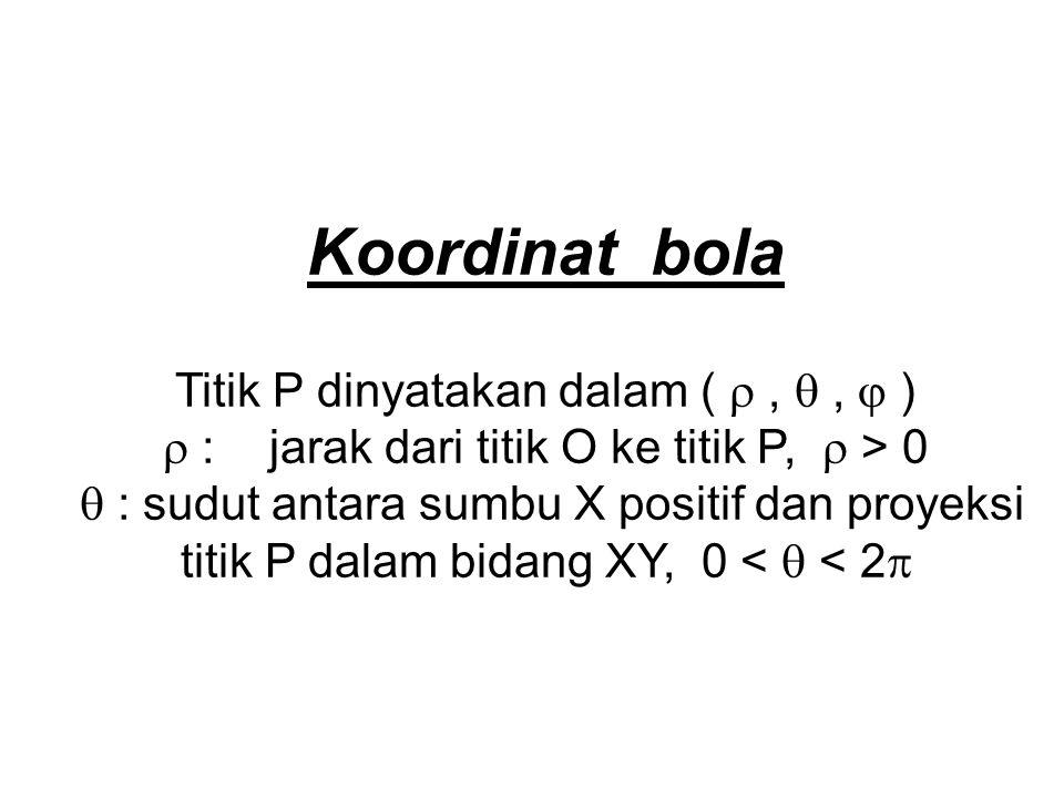 Koordinat bola Titik P dinyatakan dalam (  ,  ,  )
