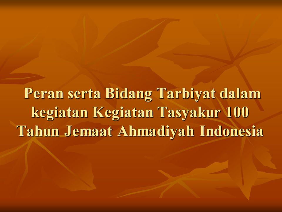 Peran serta Bidang Tarbiyat dalam kegiatan Kegiatan Tasyakur 100 Tahun Jemaat Ahmadiyah Indonesia