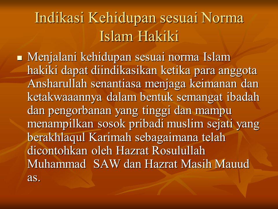 Indikasi Kehidupan sesuai Norma Islam Hakiki