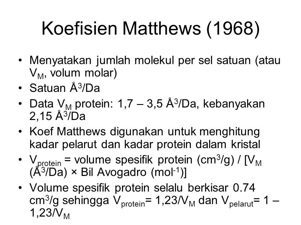 Koefisien Matthews (1968) Menyatakan jumlah molekul per sel satuan (atau VM, volum molar) Satuan Å3/Da.