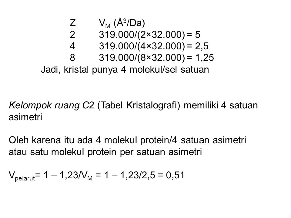 Z VM (Å3/Da) 2 319.000/(2×32.000) = 5. 4 319.000/(4×32.000) = 2,5. 8 319.000/(8×32.000) = 1,25. Jadi, kristal punya 4 molekul/sel satuan.