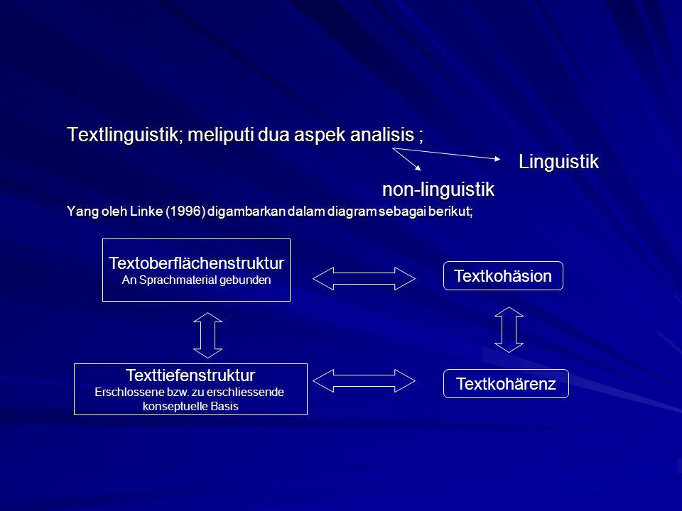 Textlinguistik; meliputi dua aspek analisis ; Linguistik
