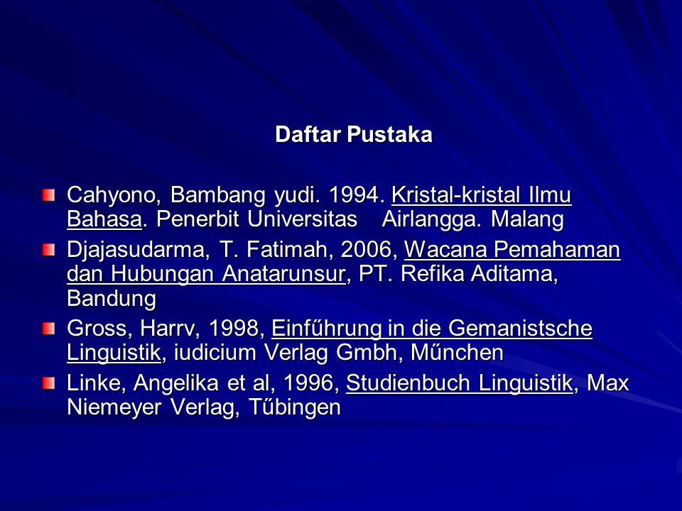 Daftar Pustaka Cahyono, Bambang yudi. 1994. Kristal-kristal Ilmu Bahasa. Penerbit Universitas Airlangga. Malang.
