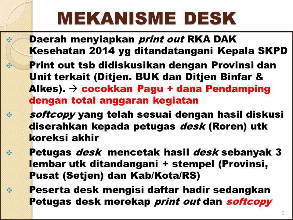 MEKANISME DESK Daerah menyiapkan print out RKA DAK Kesehatan 2014 yg ditandatangani Kepala SKPD.