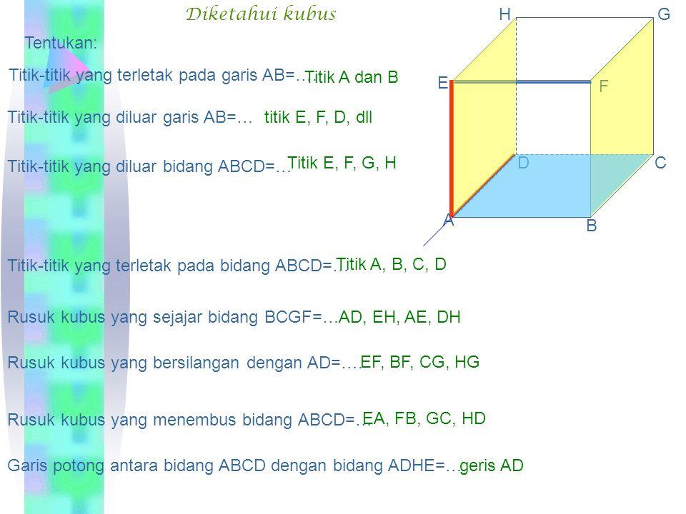 Diketahui kubus A. B. C. D. E. F. G. H. Tentukan: Titik-titik yang terletak pada garis AB=….