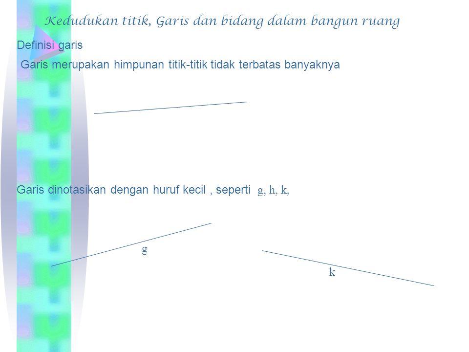 Kedudukan titik, Garis dan bidang dalam bangun ruang