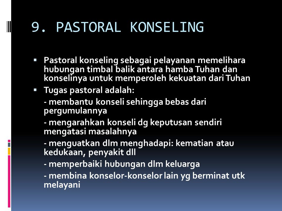 9. PASTORAL KONSELING