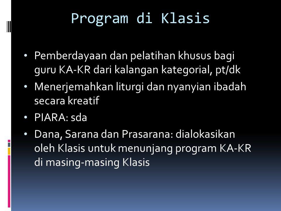 Program di Klasis Pemberdayaan dan pelatihan khusus bagi guru KA-KR dari kalangan kategorial, pt/dk.