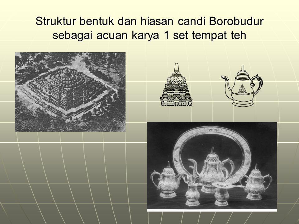 Struktur bentuk dan hiasan candi Borobudur sebagai acuan karya 1 set tempat teh
