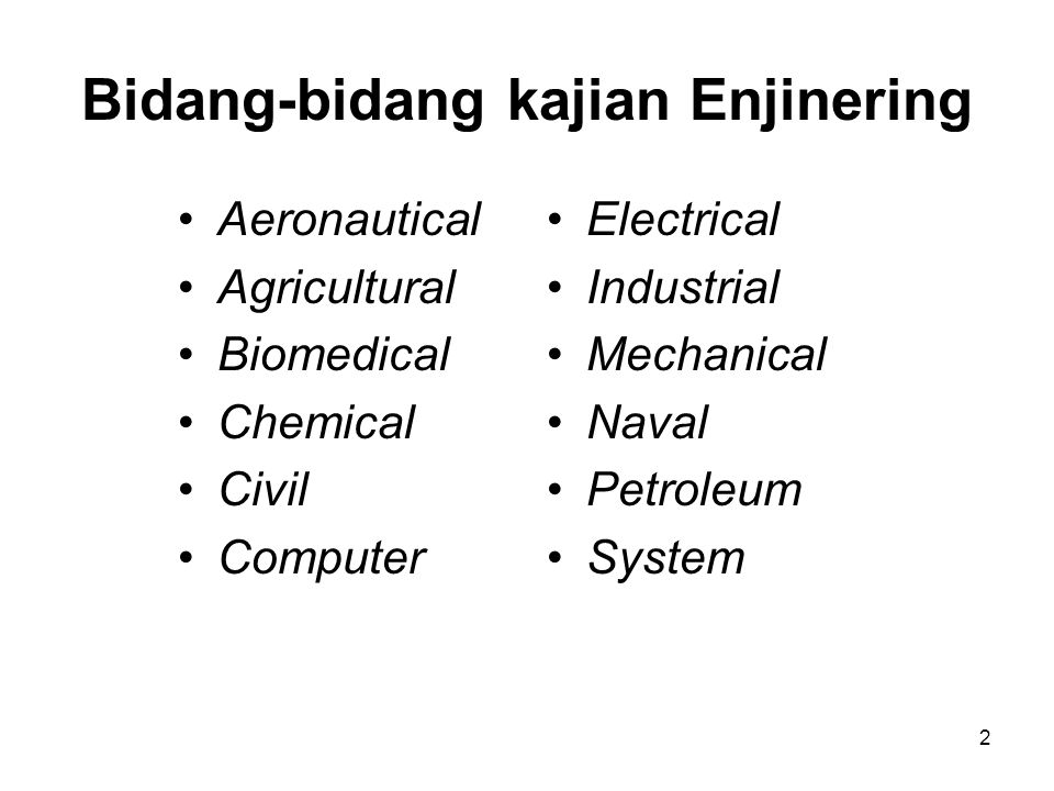 Bidang-bidang kajian Enjinering