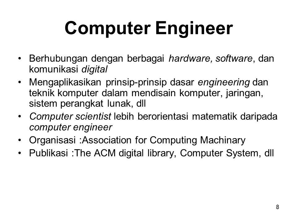 Computer Engineer Berhubungan dengan berbagai hardware, software, dan komunikasi digital.