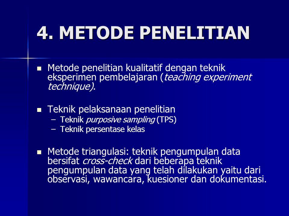 4. METODE PENELITIAN Metode penelitian kualitatif dengan teknik eksperimen pembelajaran (teaching experiment technique).