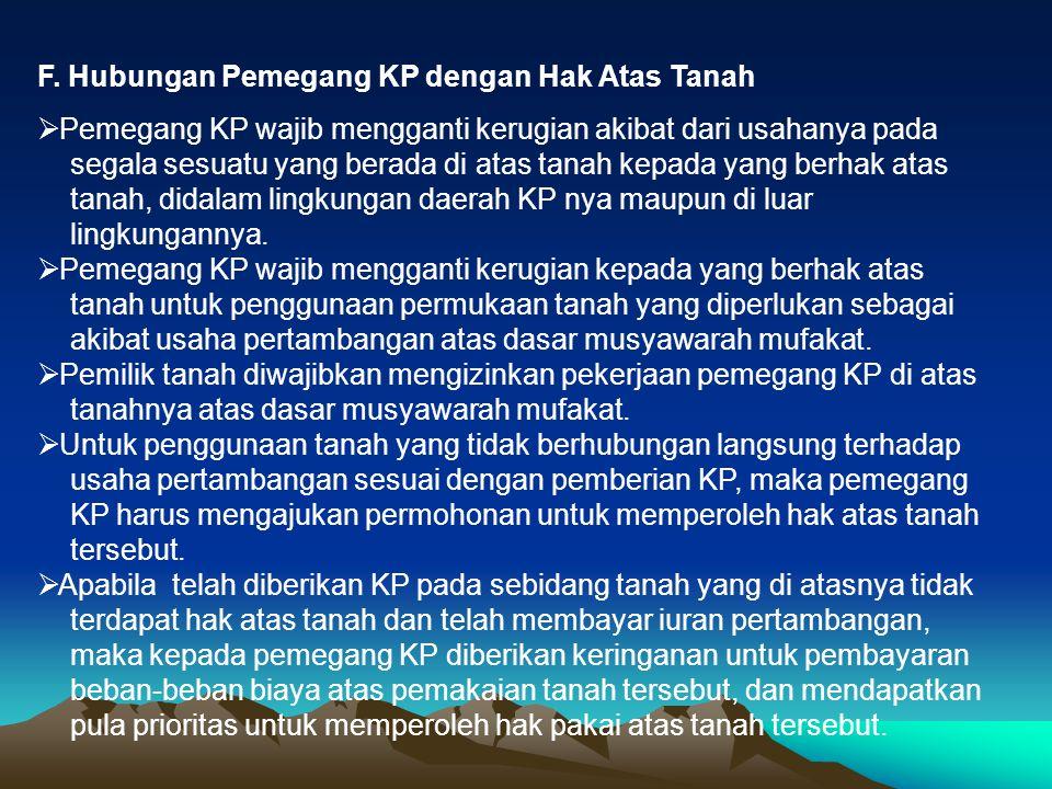 F. Hubungan Pemegang KP dengan Hak Atas Tanah
