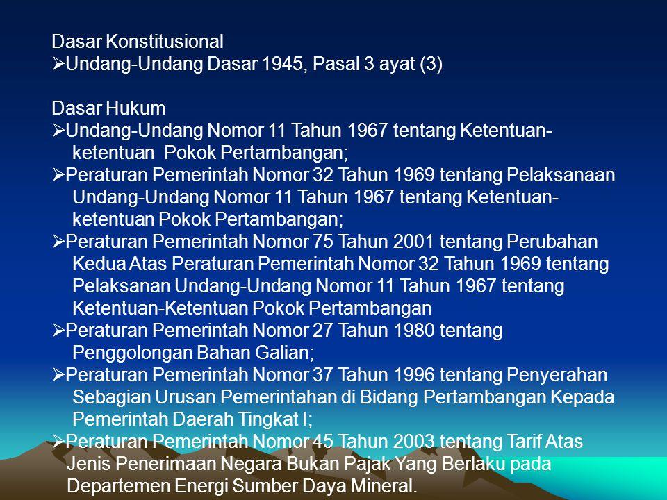 Dasar Konstitusional Undang-Undang Dasar 1945, Pasal 3 ayat (3) Dasar Hukum. Undang-Undang Nomor 11 Tahun 1967 tentang Ketentuan-