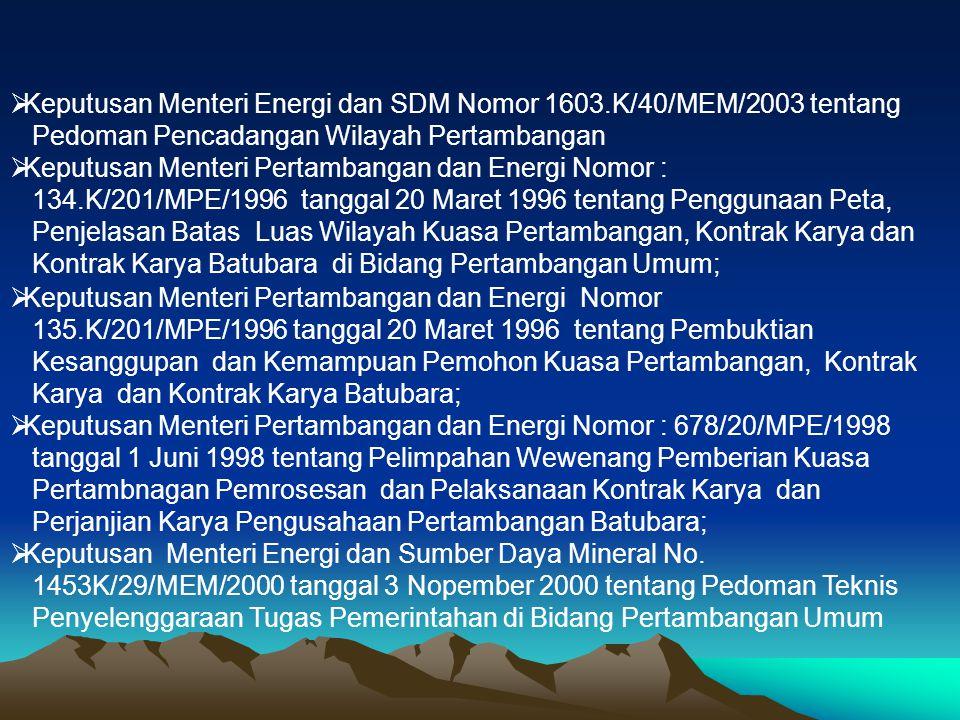 Keputusan Menteri Energi dan SDM Nomor 1603.K/40/MEM/2003 tentang