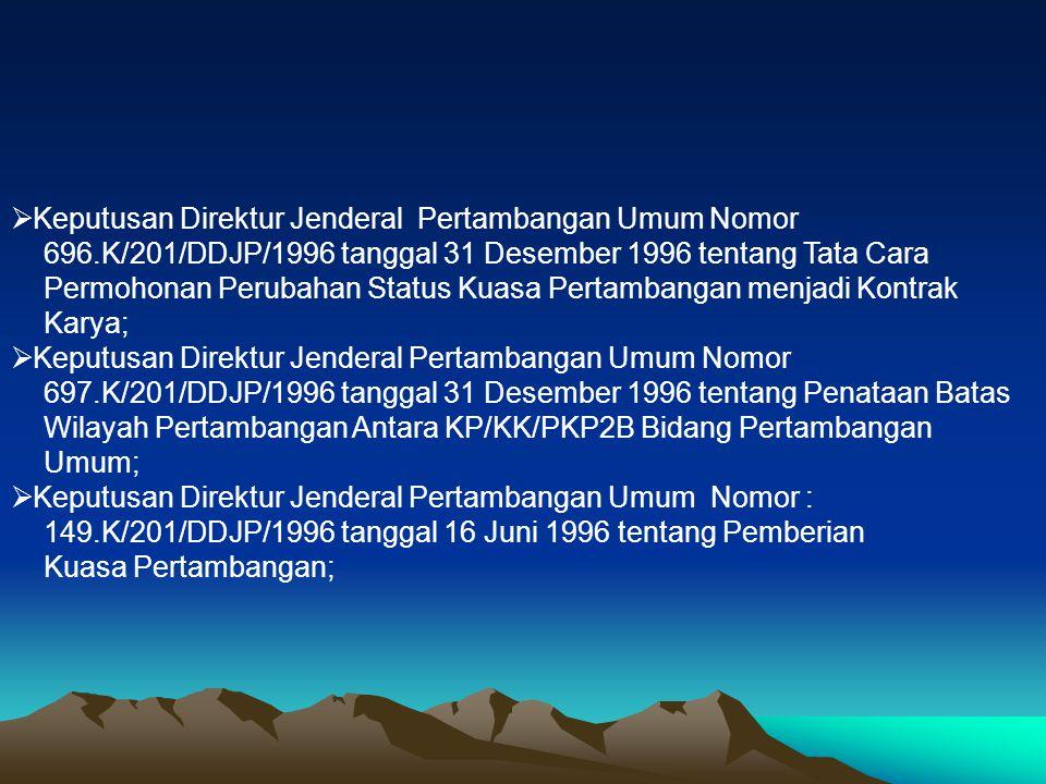 Keputusan Direktur Jenderal Pertambangan Umum Nomor