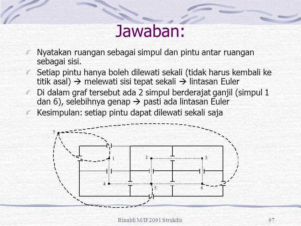 Jawaban: Nyatakan ruangan sebagai simpul dan pintu antar ruangan sebagai sisi.
