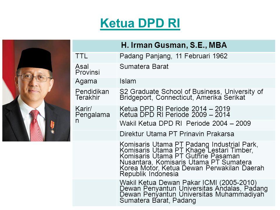 Ketua DPD RI H. Irman Gusman, S.E., MBA TTL
