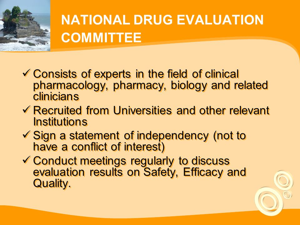 NATIONAL DRUG EVALUATION COMMITTEE