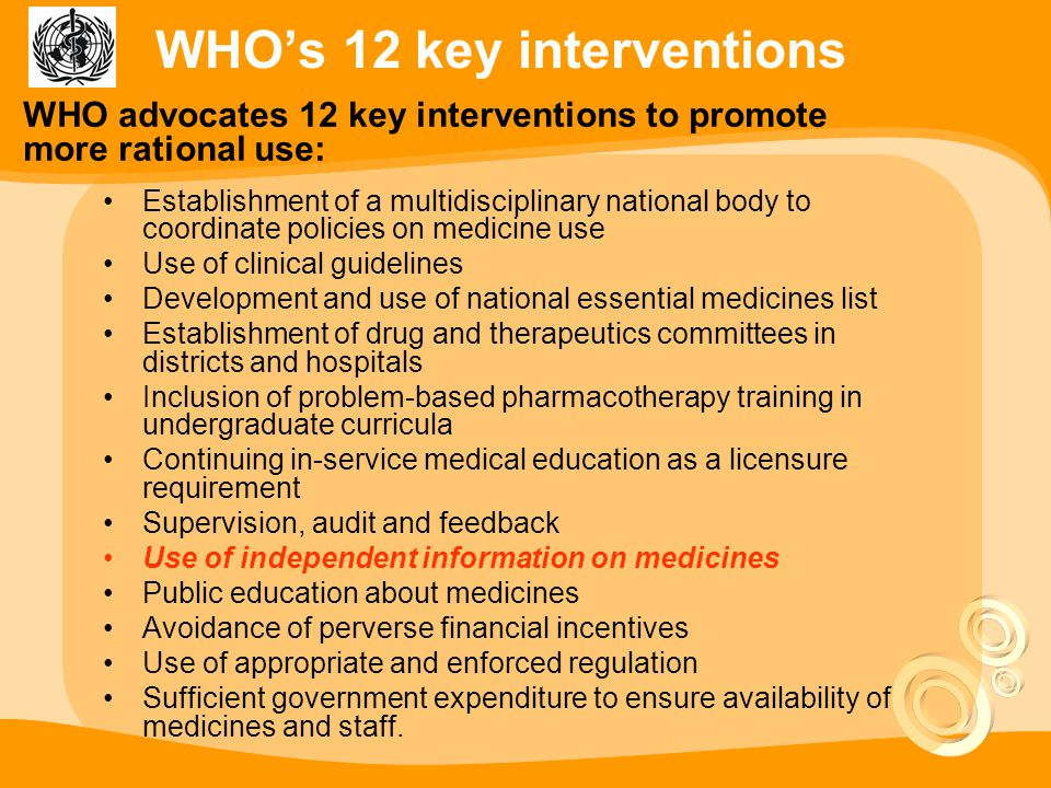 WHO's 12 key interventions