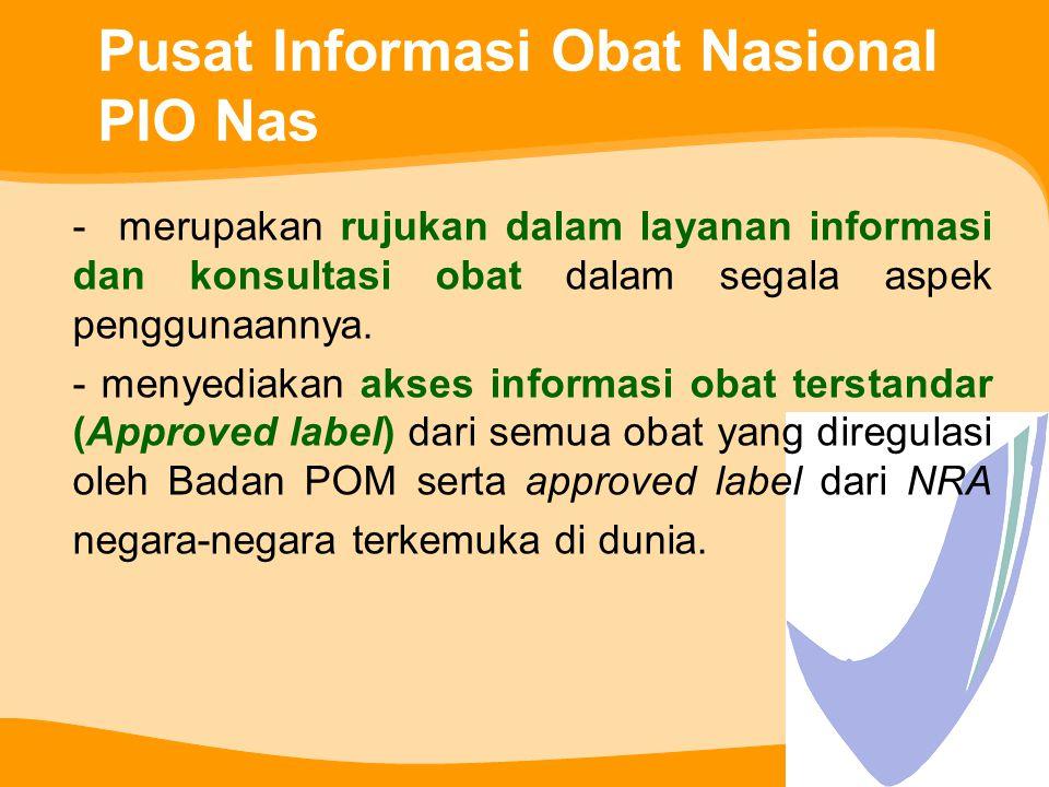 Pusat Informasi Obat Nasional PIO Nas