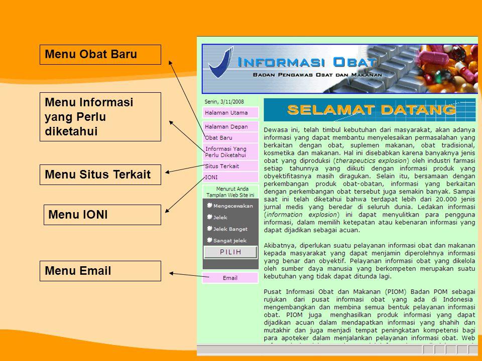 Menu Obat Baru Menu Informasi yang Perlu diketahui Menu Situs Terkait Menu IONI Menu Email