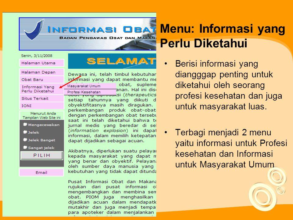 Menu: Informasi yang Perlu Diketahui