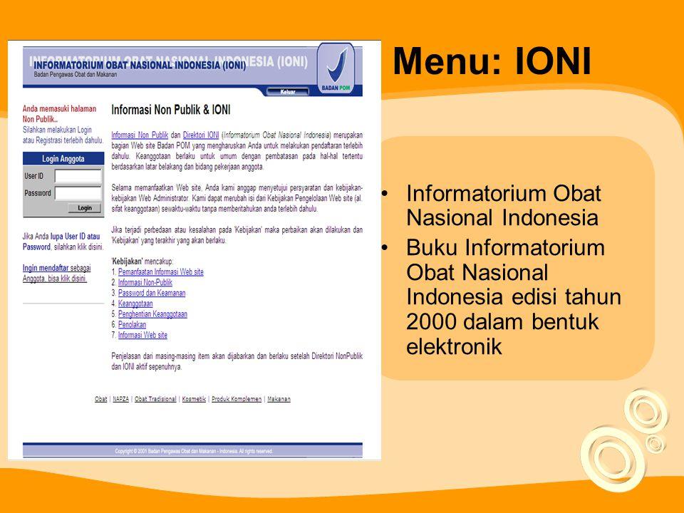 Menu: IONI Informatorium Obat Nasional Indonesia