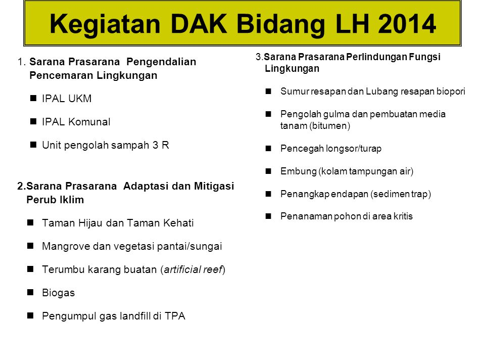 Kegiatan DAK Bidang LH 2014 3.Sarana Prasarana Perlindungan Fungsi Lingkungan. Sumur resapan dan Lubang resapan biopori.