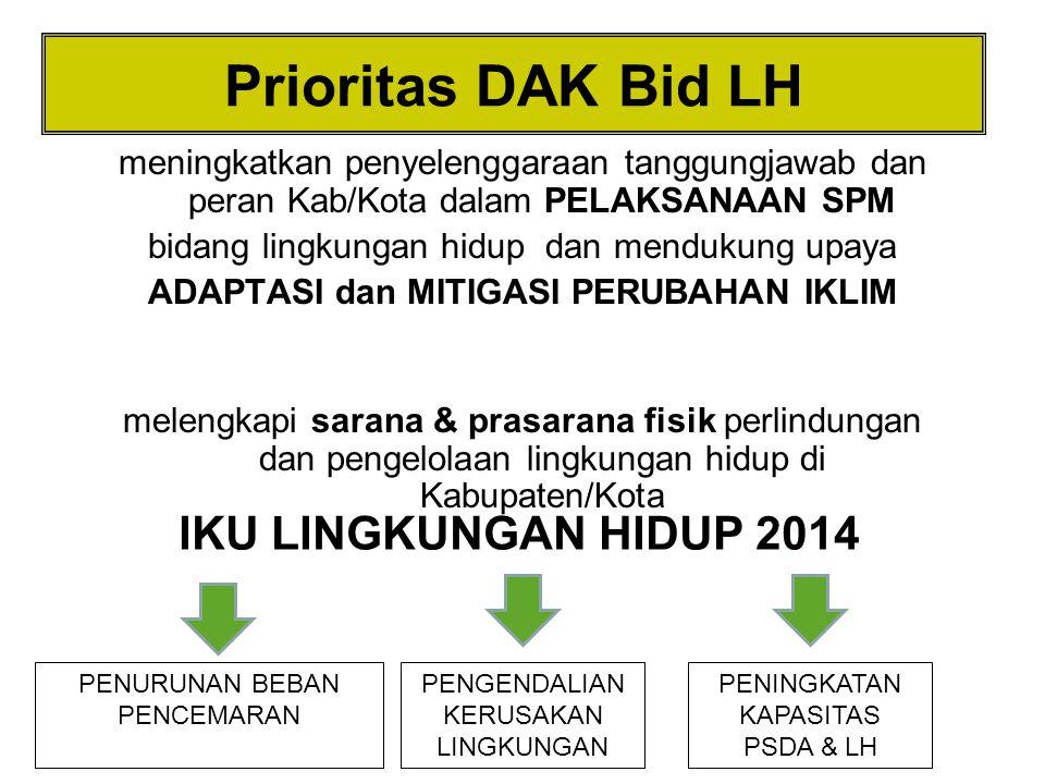 Prioritas DAK Bid LH IKU LINGKUNGAN HIDUP 2014