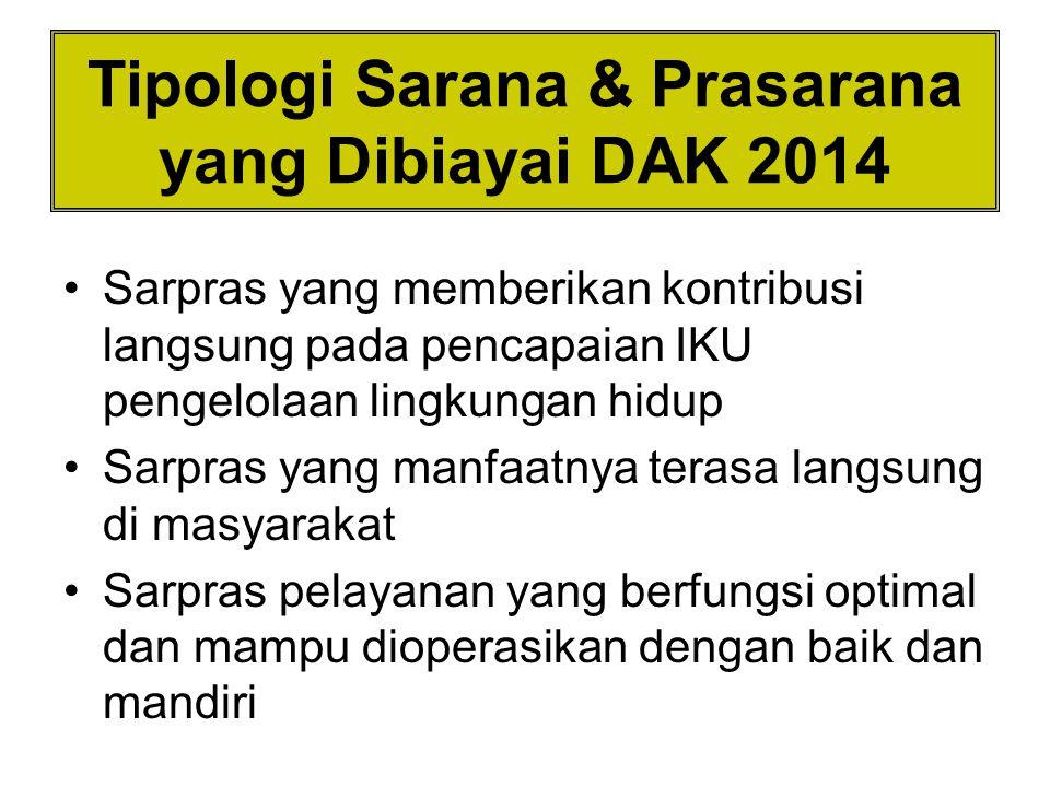 Tipologi Sarana & Prasarana yang Dibiayai DAK 2014