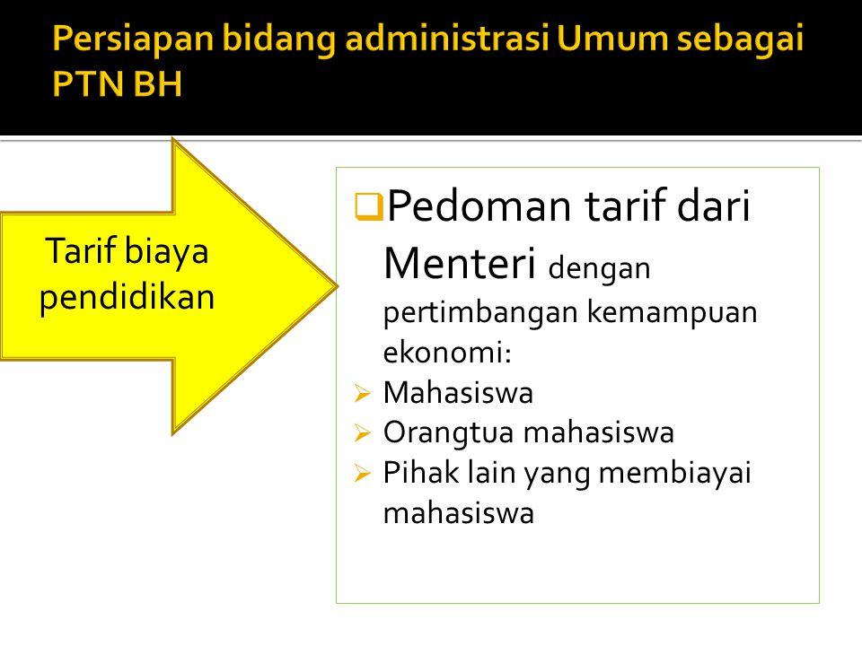 Persiapan bidang administrasi Umum sebagai PTN BH
