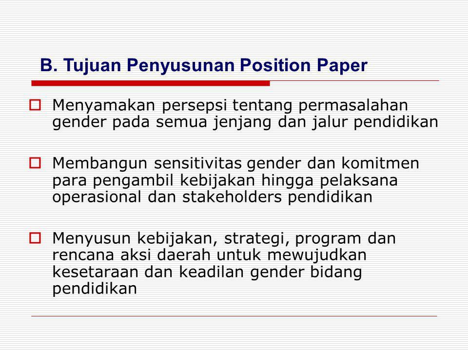 B. Tujuan Penyusunan Position Paper