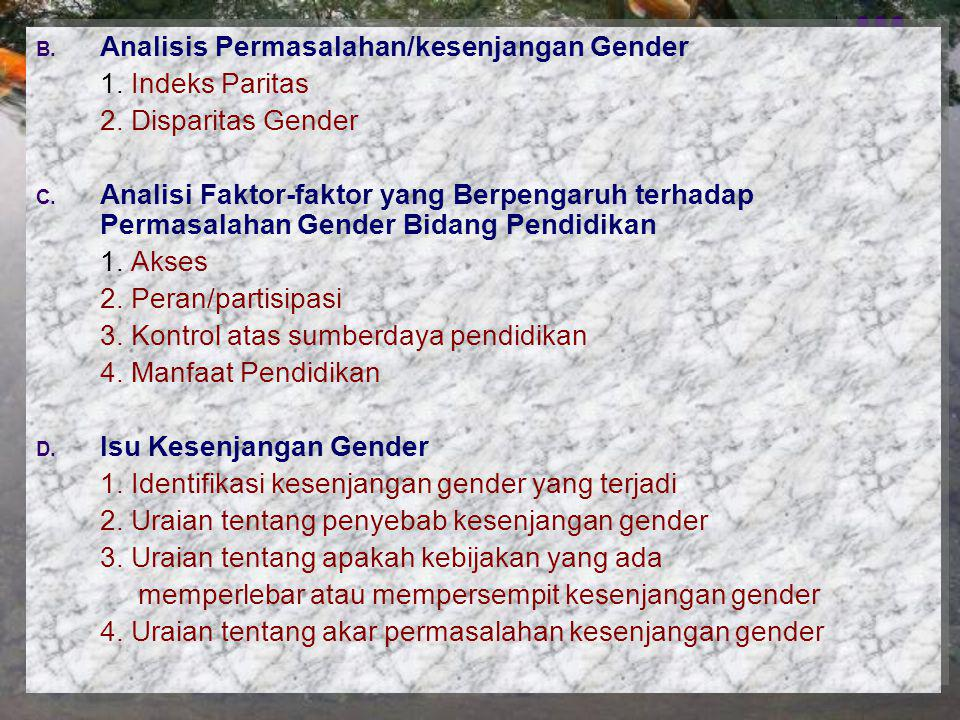 Analisis Permasalahan/kesenjangan Gender