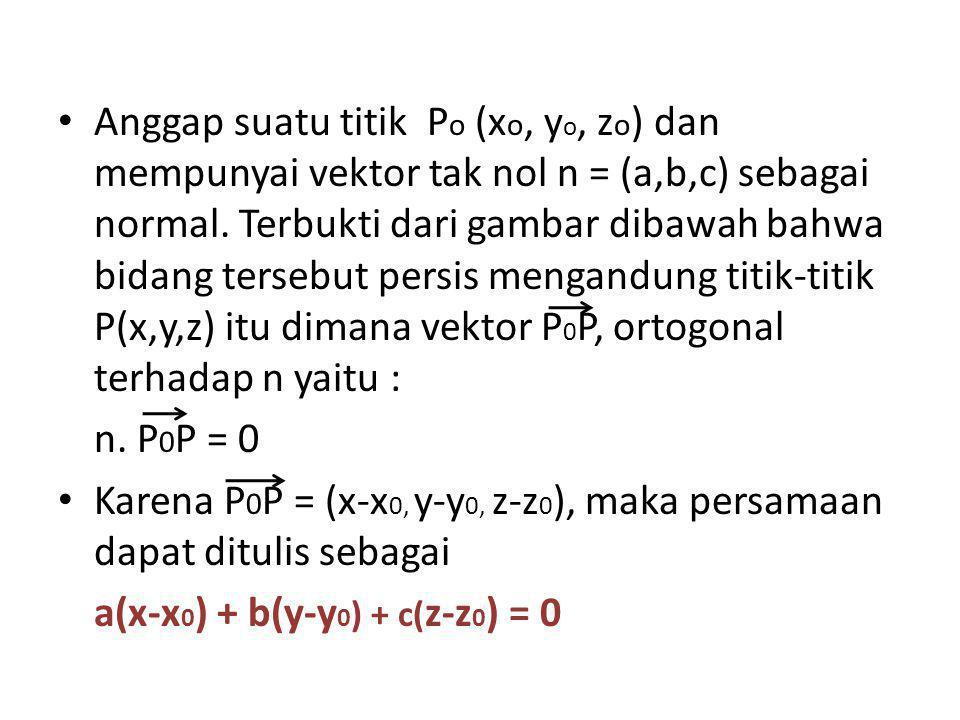 Anggap suatu titik Po (xo, yo, zo) dan mempunyai vektor tak nol n = (a,b,c) sebagai normal. Terbukti dari gambar dibawah bahwa bidang tersebut persis mengandung titik-titik P(x,y,z) itu dimana vektor P0P, ortogonal terhadap n yaitu :