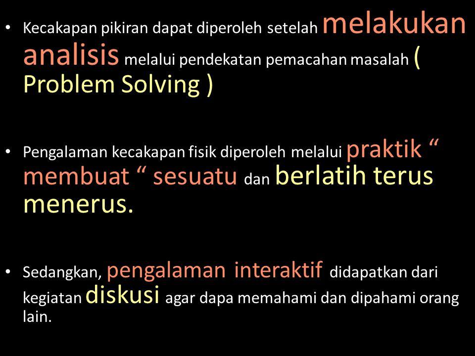 Kecakapan pikiran dapat diperoleh setelah melakukan analisis melalui pendekatan pemacahan masalah ( Problem Solving )