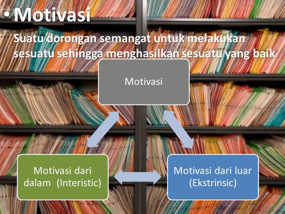 Motivasi Suatu dorongan semangat untuk melakukan sesuatu sehingga menghasilkan sesuatu yang baik. Motivasi.