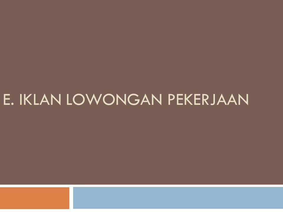 E. IKLAN LOWONGAN PEKERJAAN