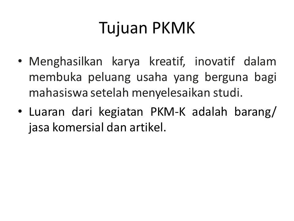 Tujuan PKMK Menghasilkan karya kreatif, inovatif dalam membuka peluang usaha yang berguna bagi mahasiswa setelah menyelesaikan studi.