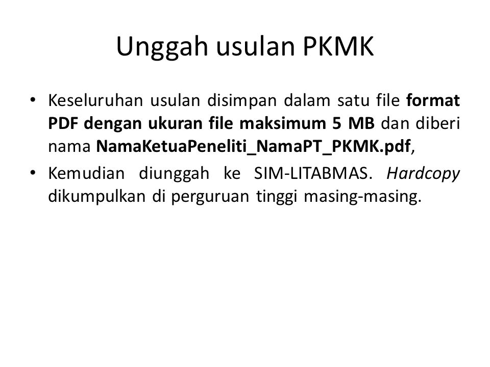Unggah usulan PKMK