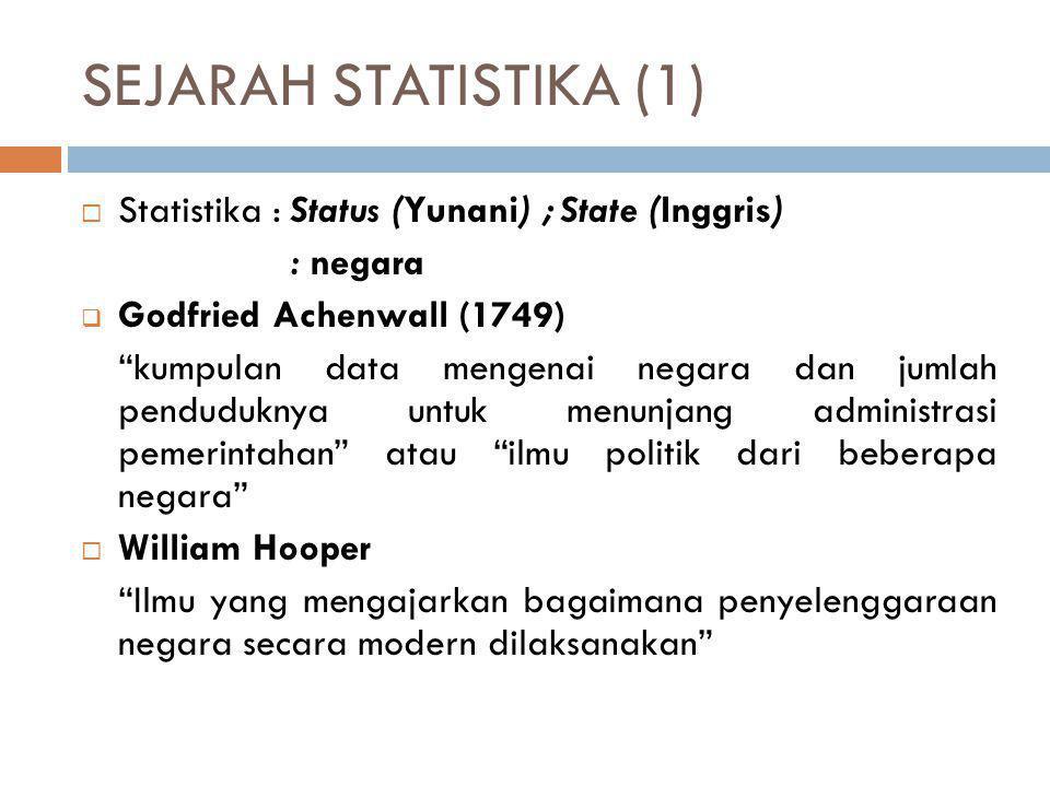 SEJARAH STATISTIKA (1) Statistika : Status (Yunani) ; State (Inggris)