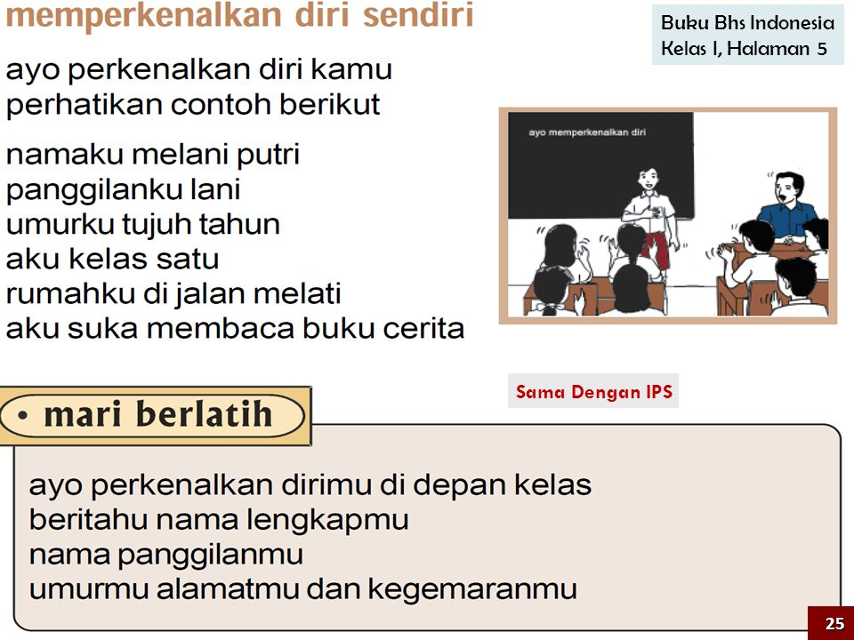 Buku Bhs Indonesia Kelas I, Halaman 5 Sama Dengan IPS 25