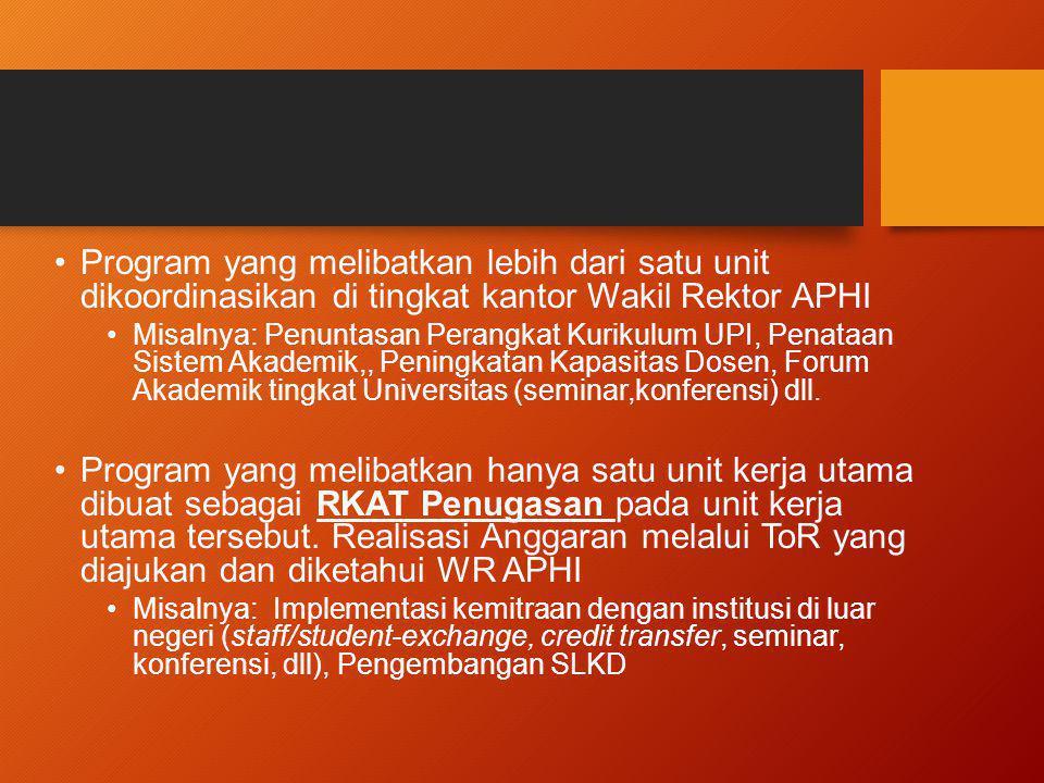 Program yang melibatkan lebih dari satu unit dikoordinasikan di tingkat kantor Wakil Rektor APHI