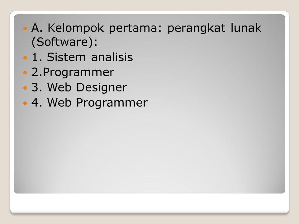 A. Kelompok pertama: perangkat lunak (Software):