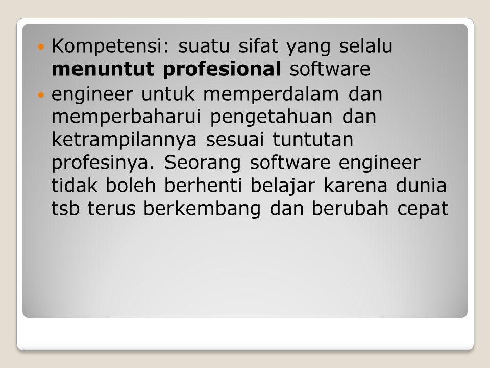 Kompetensi: suatu sifat yang selalu menuntut profesional software
